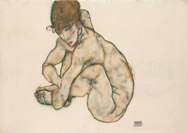 Schiele, Egon: Crouching Nude Girl. Fine Art Print/Poster. Sizes: A4/A3/A2/A1 (003673)